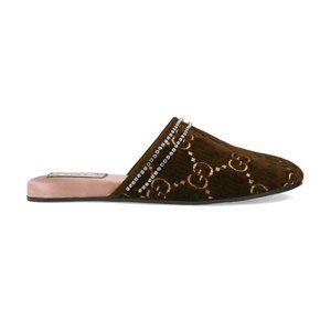 Gucci Brown Suede GG Crystal Trim Slip-On Mules